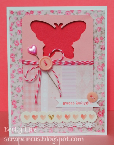 sweet baby girl card by livvysmom: Babies, Cards Ideas, Baby Cards, Sweet Baby, Baby Girl Cards, Butterflies Cards, Cards Baby Girls, Paper Crafts, Baby Girls Cards