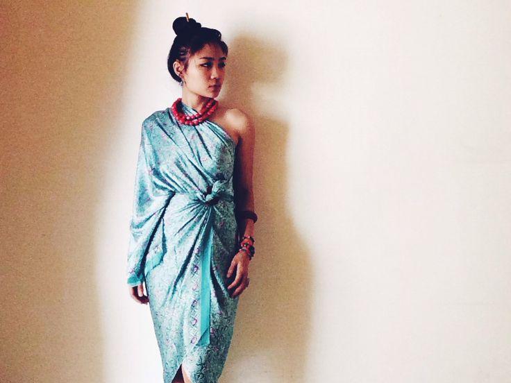 Indonesian ethnic batik wrap dress