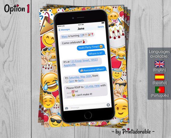 Emoji Invitation  Messenger Birthday Invite  by Printadorable