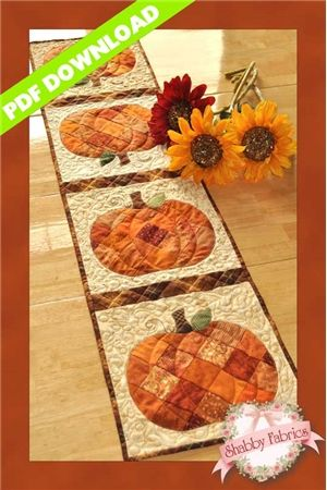 Patchwork Pumpkin Table Runner - PDF DOWNLOAD: THIS PRODUCT IS A PDF DOWNLOAD that must be downloaded and printed by the customer. A paper copy of the pattern will not be sent to you. Create a darling table runner using your orange scraps! This Shabby Fabrics Exclusive finishes to 12 1/2