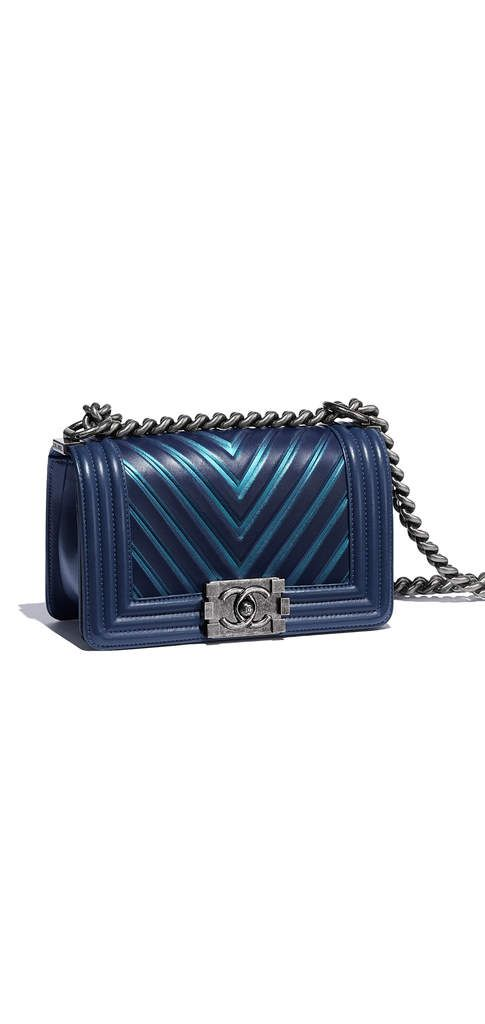 Small BOY CHANEL handbag, calfskin, painted embossed calfskin & ruthenium metal-navy blue - CHANEL