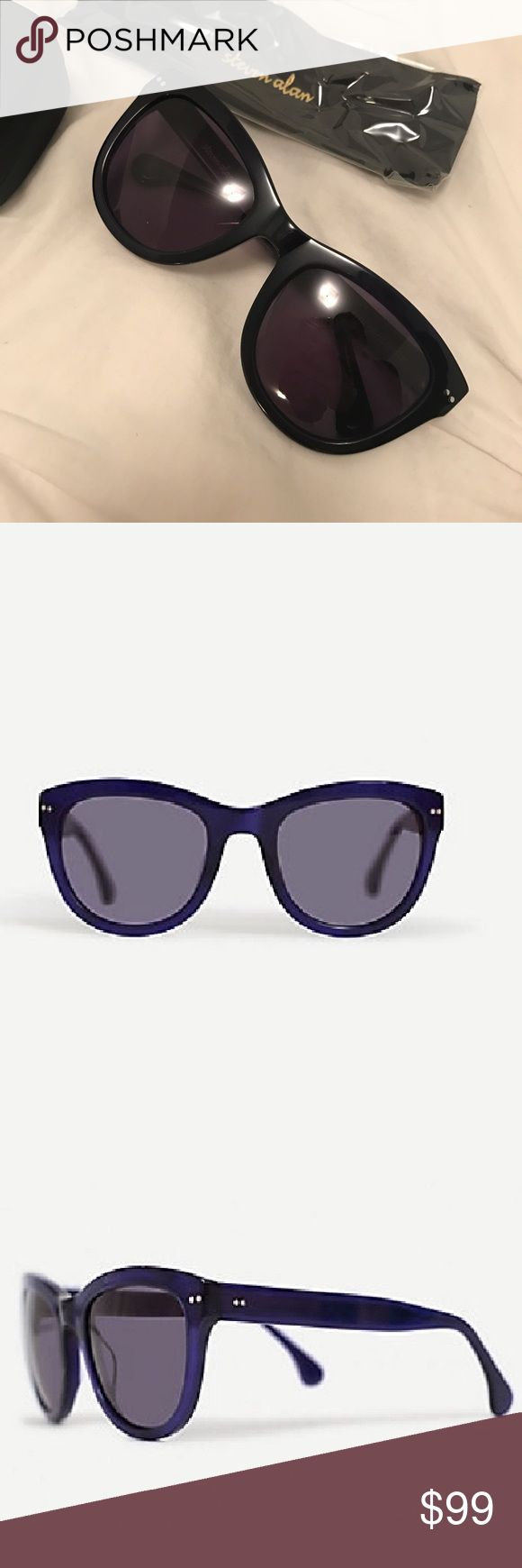 Steven Alan NIB KENT cat eye sunglasses purple Brand new in the box sunglasses by Steven Alan. The style name is Kent and the frames are more black than purple. All items shown included.   The Kent is a soft cat-eye frame from Steven Alan Optical best suited to round or oblong faces.  Crafted from purple crystal acetate with pin rivet rose gold hinges, and UVA/UVB protective custom dyed charcoal lenses.   • carrying case and signature print microfiber cloth  • measures: 53-22-135  • made…