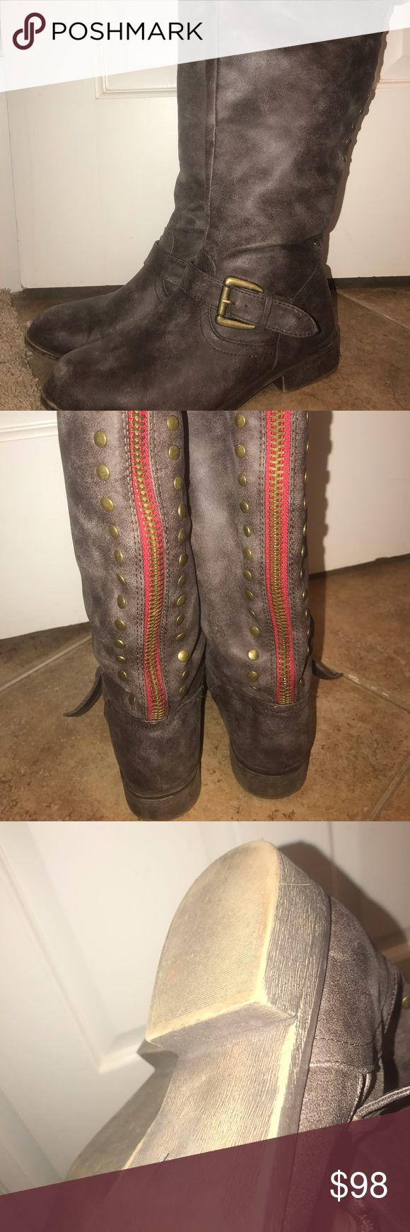 Steve Madden Boots Madden Girl by Steve Madden Cactus boots , hardly worn, very faint wear on toe of boot but hardly noticeable. Distressed brown, Super super cute 💕 Steve Madden Shoes Winter & Rain Boots
