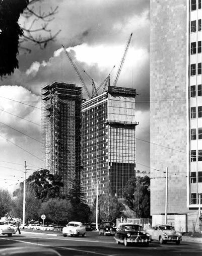 ICI House under construction 1958 first melbourne skyscraper