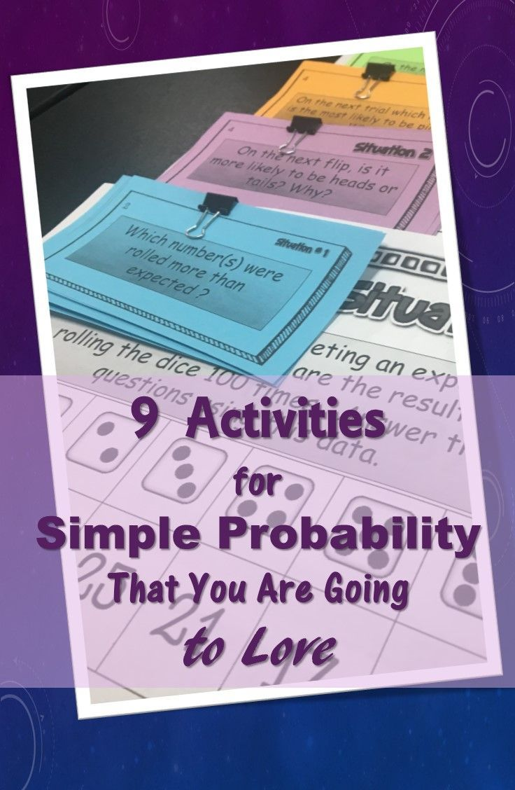 9 ways to help students really *get* simple probability. Includes resources for hooks/anticipatory sets, practice, and enrichment. A mix of technology based resources, print and go materials, and a free game for whole class review.