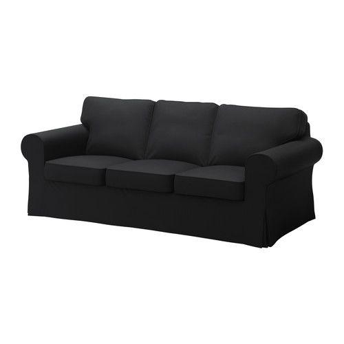 EKTORP Klädsel 3-sits soffa - Isefall svart - IKEA
