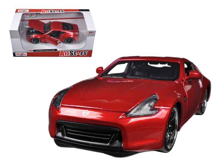 2009 Nissan 370Z Metallic Red 1/24 Diecast Car Model by Maisto - Brand new 1:24 scale diecast model of 2009 Nissan 370Z Metallic Red die cast model car by Maisto. Brand new box. Rubber tires. Has opening hood and doors. Made of diecast with some plastic parts. Detailed interior, exterior, engine compartment. Dimensions approximately L-8,W-3,H-2.5 inches. Please note that manufacturer may change packing box at anytime. Product will stay exactly the same.-Weight: 2. Height: 6. Width: 11. Box…