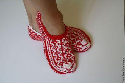 Обувь ручной работы. Ярмарка Мастеров - ручная работа. Купить Домашние тапочки. Handmade. Ярко-красный, домашние тапочки, обувь