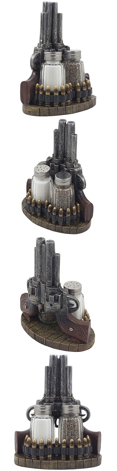 Classic Country Western Six-shooter Pistols with Bullets Salt and Pepper Shaker Set on Decorative Display Stand Figurine in Wild West Kitchen Decor Table Centerpieces As Rustic Gifts for Cowboys