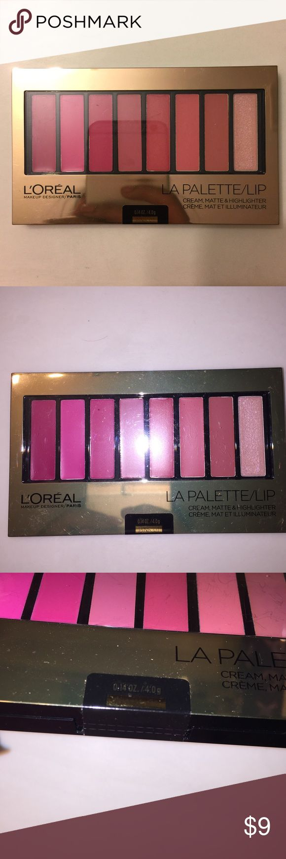 L'oréal Face/Lip Palette L'oréal Paris Palette in PINK 01, 8 beautiful creme, matte, and highlighter shades. NEVER OPENED, STILL SEALED CLOSED. L'Oreal Makeup Lipstick