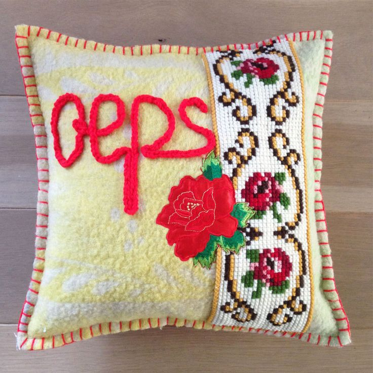 "Pillow from woolen vintage blankets, handmade, ""Oeps"" by Beaudeco on Etsy"