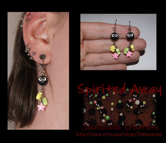 THESE ARE TOO CUTE! Spirited Away Soot Ball Sprite Earrings by Jackschula on Etsy, $20.00
