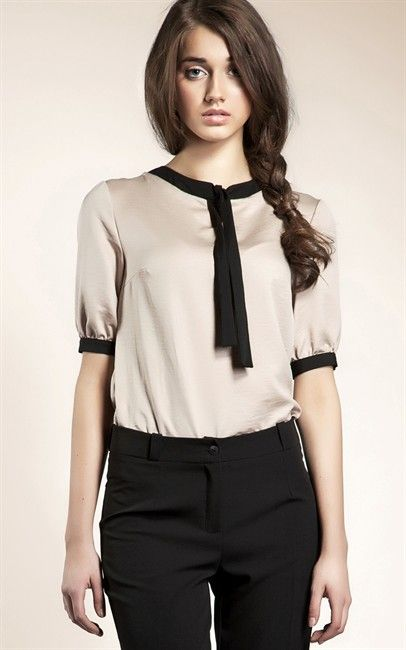 Ozsale - Short Sleeved Contrast Cuff Blouse Beige by Nife was $100 and is now $29.