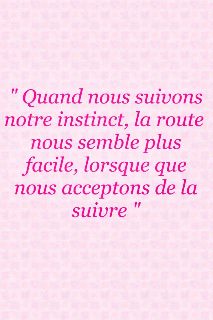 """"""" Quand nous suivons notre instinct, la route nous semble plus facile, lorsque que nous acceptons de la suivre """""""