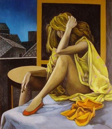 """Renato Guttuso(1911-1987) : """"Melancholia Nova"""", 1980,olio su tela, 73x63 cm , Coll.Privata Fondazione Pellin,Varese ; la modella è la 49enne Marta Marzotto."""