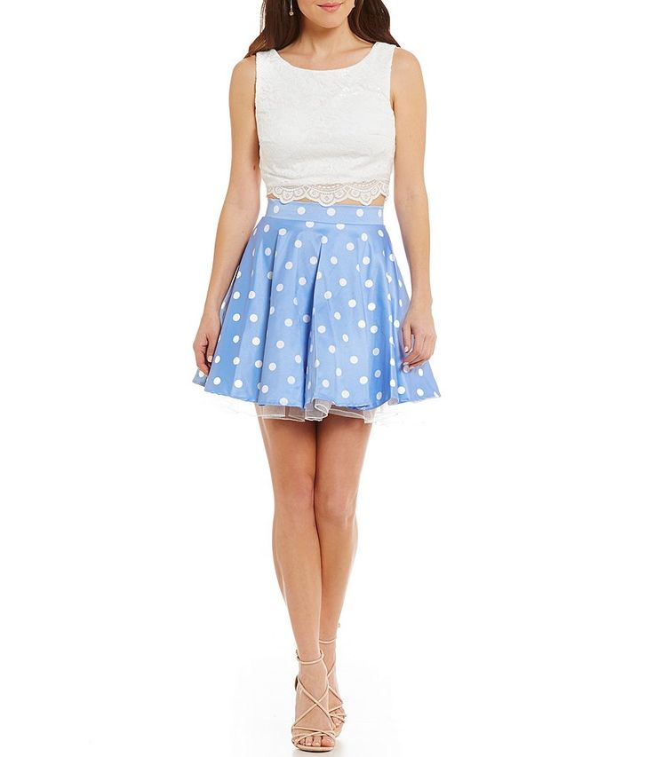 Jodi Kristopher Lace Tank to Polka Dot Skirt Two-Piece Fit-and-Flare Dress