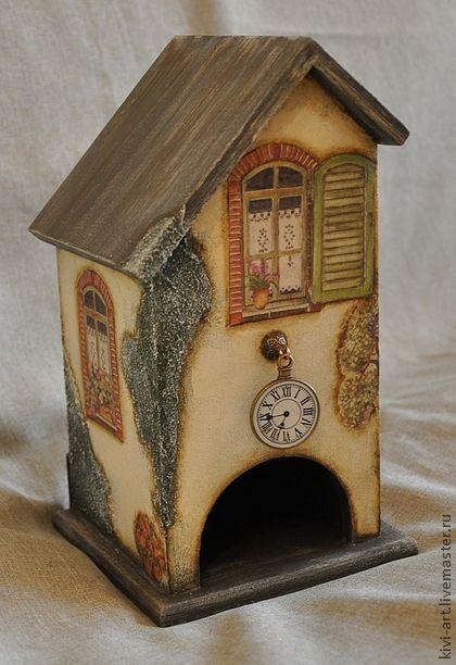 """Домики,комплект для кухни """"Станция домашняя""""(чайный домик и часы) - бежевый"""