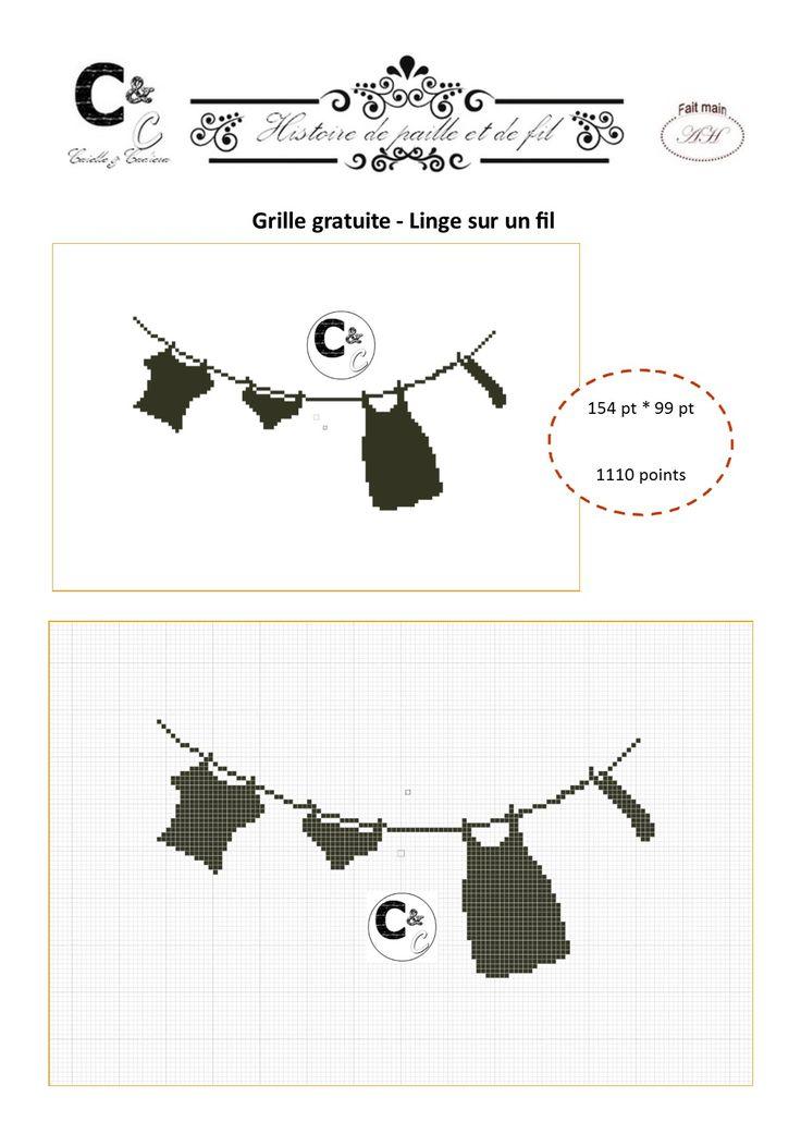 Grille gratuite point de croix - Linge sur un fil