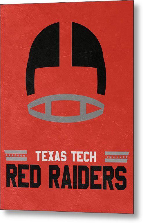 Red Raiders Metal Print featuring the mixed media Texas Tech Red Raiders Vintage Football Art by Joe Hamilton