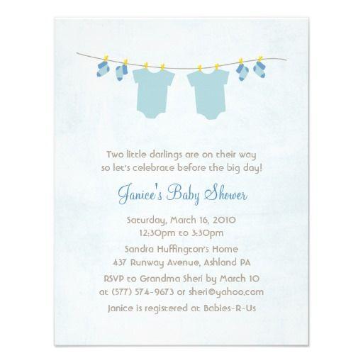 Twice As Nice Baby Boy Shower Invitations