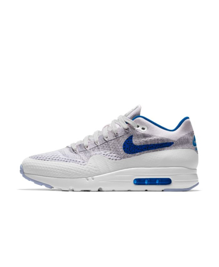 Nike Mens Air Max 1 Ultra Flyknit iD Grey/White/Blue Shoe