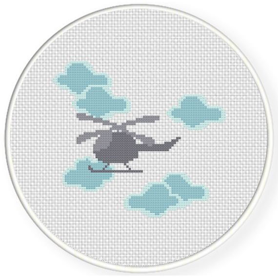 FREE for April 3rd 2016 Only - Helicopter In The Sky Cross Stitch Pattern