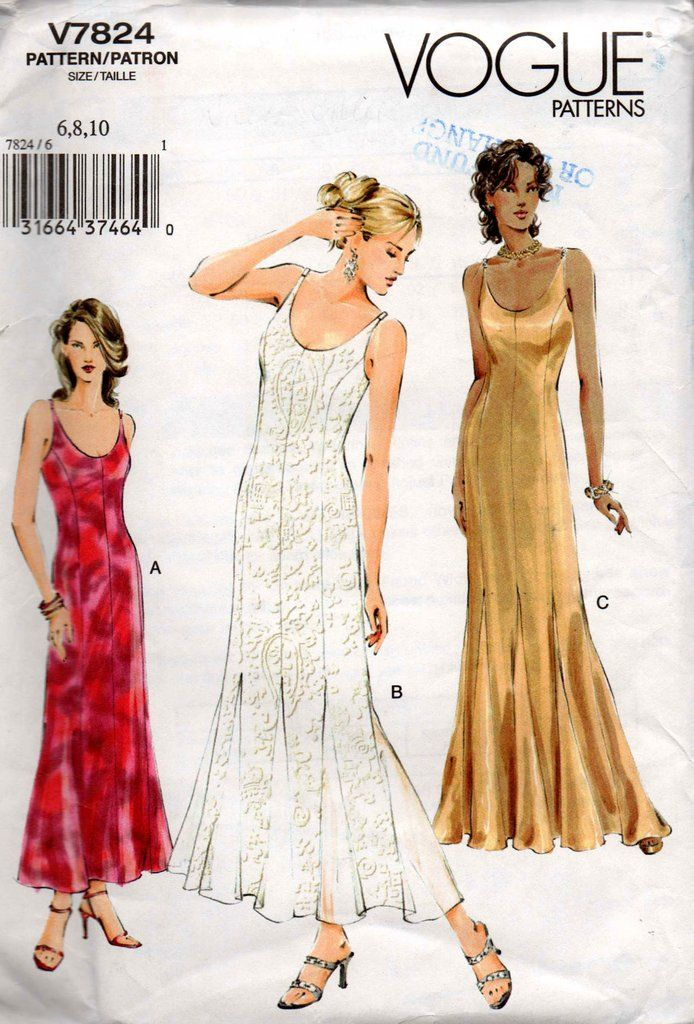 Vogue V7824 Womens Lined Princess Cut Dress with Skirt Godets OOP Sewing  Pattern Size 6 8 10 UNCUT Factory Folded 6011024e9