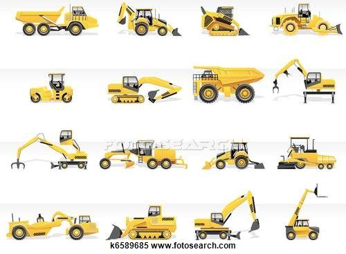 Clipart of Vector transportation icon. Tractor k6589685 - Search Clip Art, Illustration Murals, Drawings and Vector EPS Graphics Images - k6589685.eps