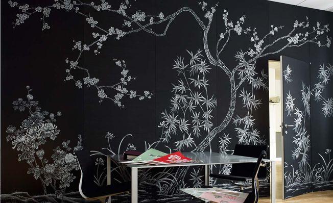 Modern chinoiserie 'Fish' by Misha wallpaper: Designer Marcello Conte featured hand painted wallpaper Winter Peach Blossom on Black silk in the Miroglio's office in Alba, Italy.