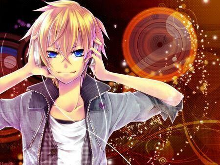 Blond Anime Boy Listening The Music