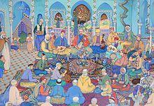 Algerian musicians in Tlemcen. Painting by Bachir Yellès