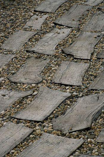 driftwood and sea stone path...