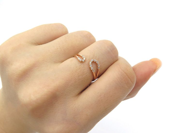 Open CZ ring /Adjustable ring / Sterling silver ring / Adjustable CZ ring / Delicate ring / Stacking ring /Birthday gift with gift box by MinimalBijoux on Etsy