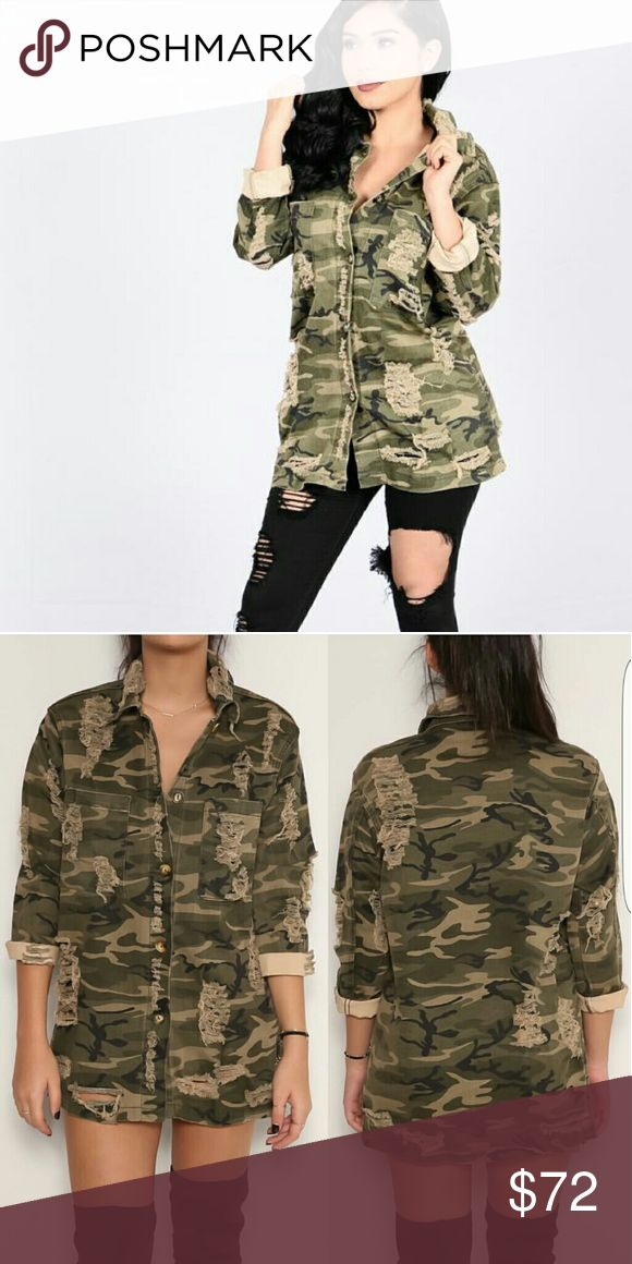 War Times Distressed camouflage top Tops