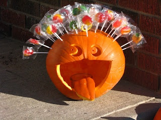 Funny laughing candy lollipop pumpkin carving!