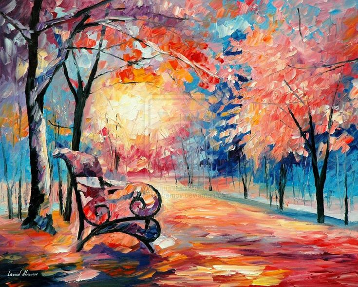 Pink autumn oil painting by Leonid Afremov by Leonidafremov.deviantart.com on @deviantART