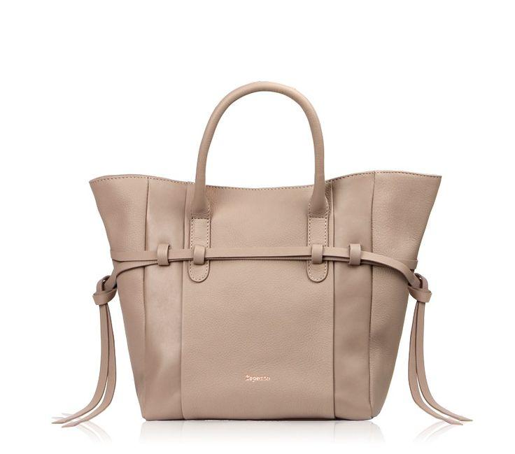 Gisele Shopping Bag Hermine taupe Buffalo calfskin, silk calfskin and buffalo calfskin