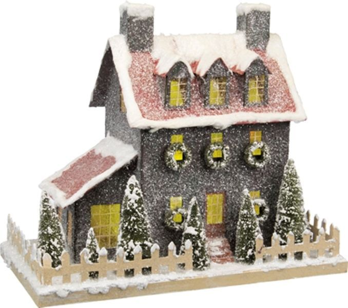 "Lighted Lrg 16"" Grey Paper Mache Putz Christmas Saltbox House~Vintage/Primitive | Home & Garden, Holiday & Seasonal Décor, Christmas & Winter | eBay!"