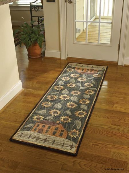 Very pretty House and Sunflower Hooked Rug Runner