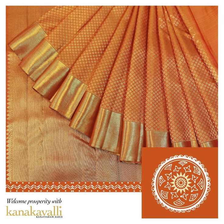 """The Glorious Sunshine:  """"Thai Pongal"""" is celebrated to convey the appreciation and thankfulness to the Sun as it acts as the primary energy behind agriculture and a good harvest. It is the Surya Mangalyam. This gorgeous Kankavalli Kanjivaram is an ode to the glorious sun. Bright orange in colour, the udal of the sari has leaf like embellishments and the golden zari in the border creates an effect as resplendent as the sun itself."""