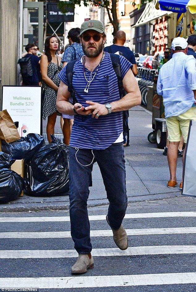 Spotted: Australian actor Joel Edgerton wasn't afraid to show off his muscly physique while out and about in New York on Saturday
