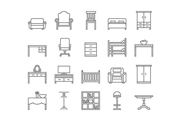 Line furniture icons set. by Kurokstas on @creativemarket