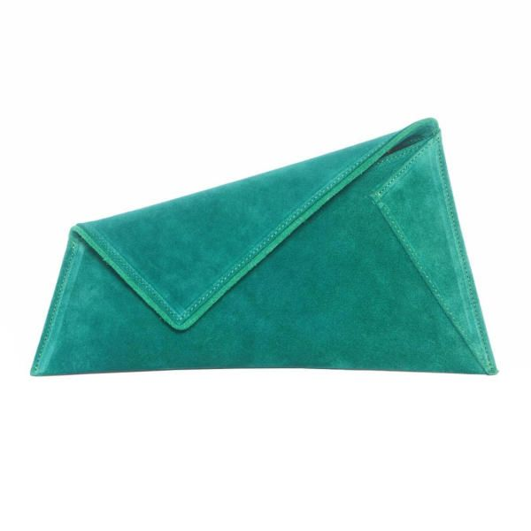 Small Green Suede Clutch Bag by Georgina