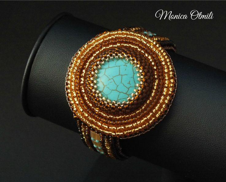 'Kleopatra' bracelet by Monica Otmili  #beaded #beadwork #beadembroidery #summer #ancient #egypt #queen #cleopatra #ra #turquoise #golden #brown #sand #beach #jewelry #bracelet #tila #toho