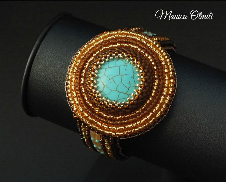 'Kleopatra' bracelet by Monica Otmili  #beaded #beadwork #beadembroidery #summer #ancient #egypt #queen #cleopatra #ra #turquoise #golden #brown #sand #beach #jewelry #bracelet #tila #toho