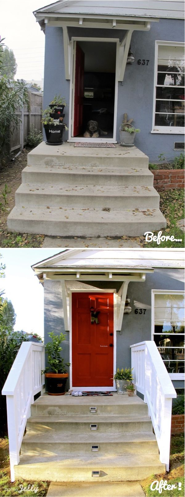 Skaie Knox of @HomeJelly added railings to her front porch after she realized they weren't up to her neighborhood code! See the full transformation and her cute dog by visiting the story.