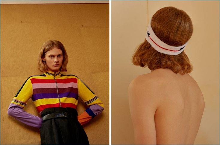 Rainbow Bright: Samuel models a Loewe striped wool knit cardigan $1,290 with Yohji Yamamoto pants $1,490 and a Diesel leather belt $63. He also rocks a MSGM logo headband $70.