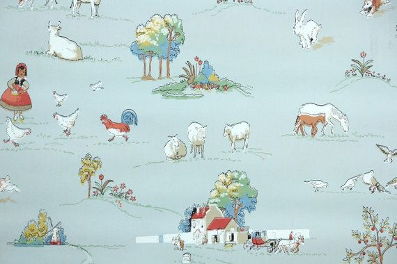 1930s Vintage Wallpaper by the Yard  Farm by HannahsTreasures