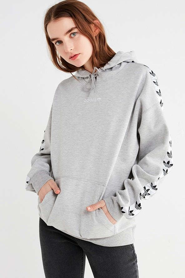 adidas Originals Logo Taped Hoodie Sweater Sweatshirt Urban Outfitters  Trefoil Three Stripes Women d9732c7e49