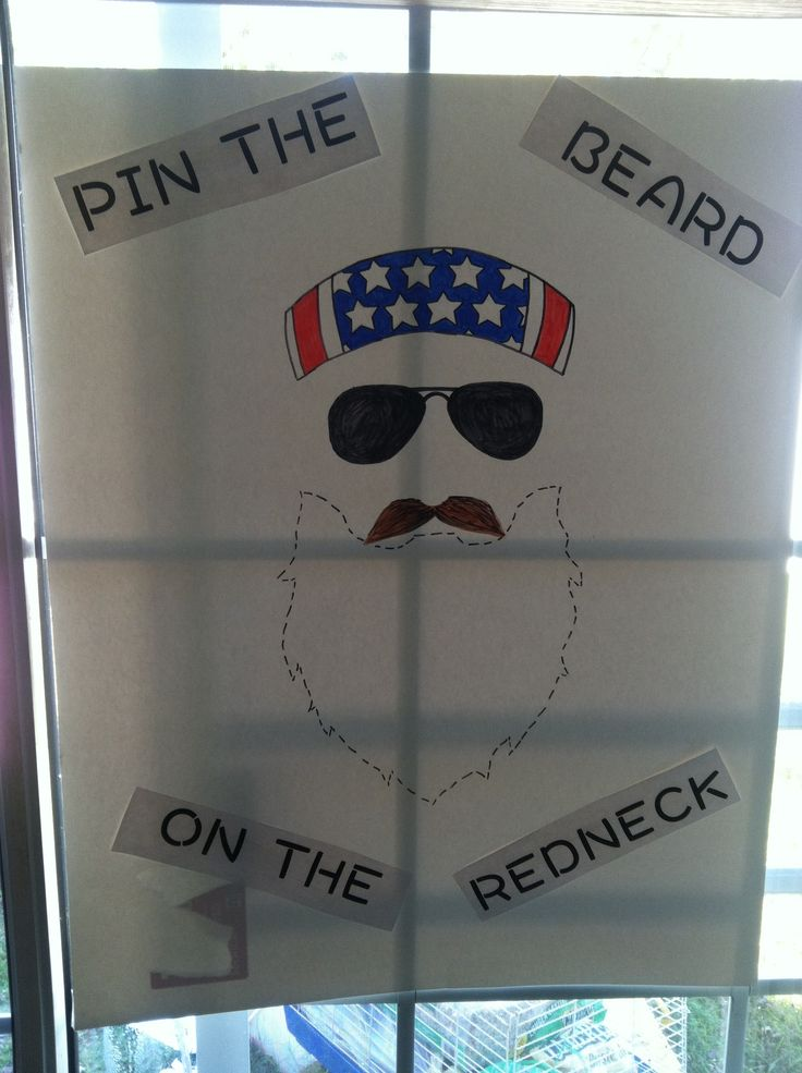 Pin the beard on the redneck. Duck Dynasty party game.
